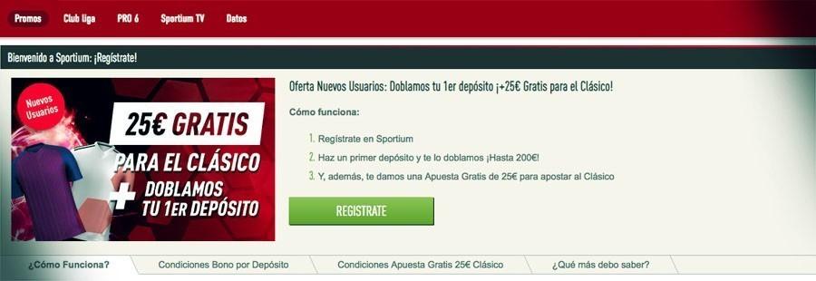 25€ gratis para El Clásico Promoción Sportium