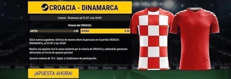 Apuesta con la cuota enorme del partido Croacia-Dinamarca
