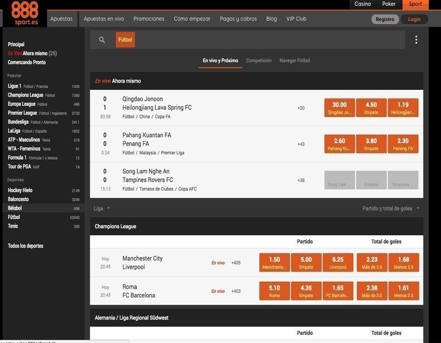 888sport Fútbol: oferta de apuestas