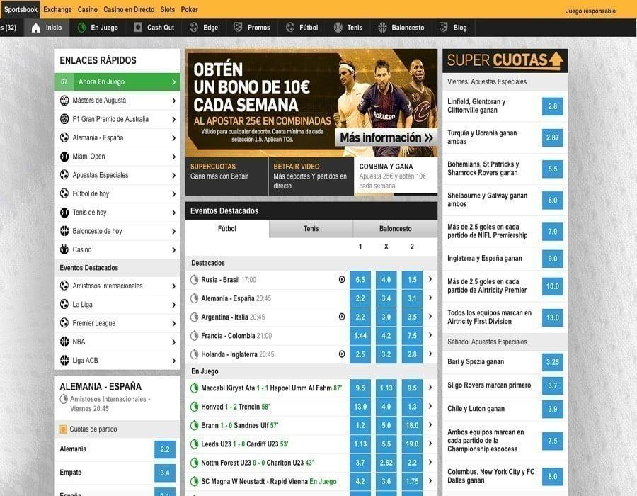 Betfair: apuestas deportivas disponibles