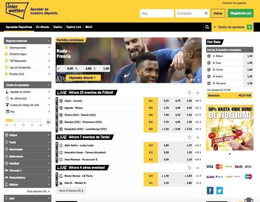 Interwetten: apuestas deportivas disponibles