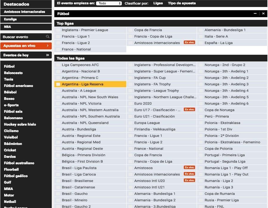 Luckia fútbol: oferta de apuestas