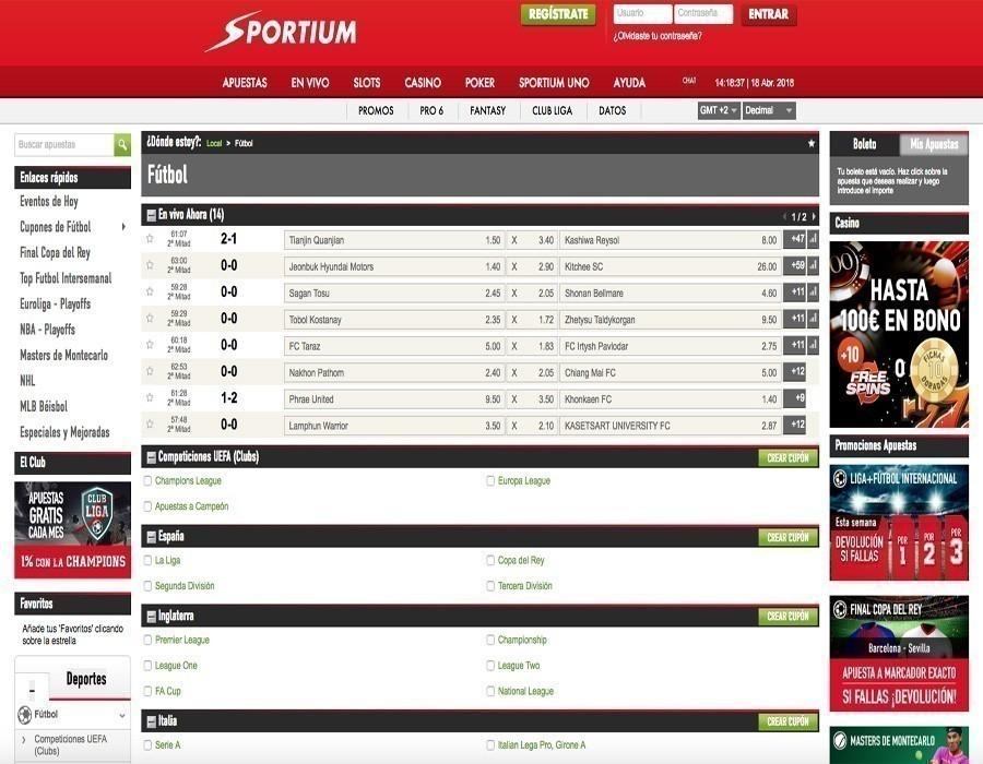 Sportium futbol: la oferta de apuestas