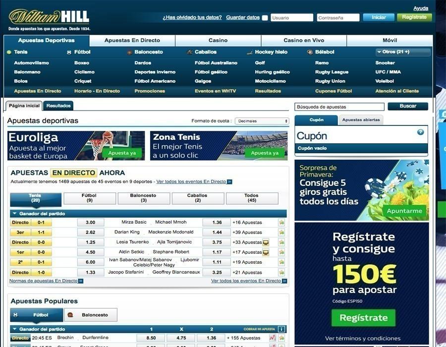 William Hill apuestas deportivas disponibles