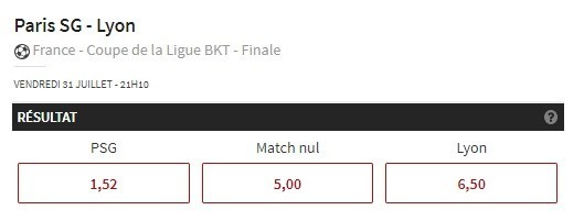 Promo Winamax - Coupe de la Ligue - PSG OL