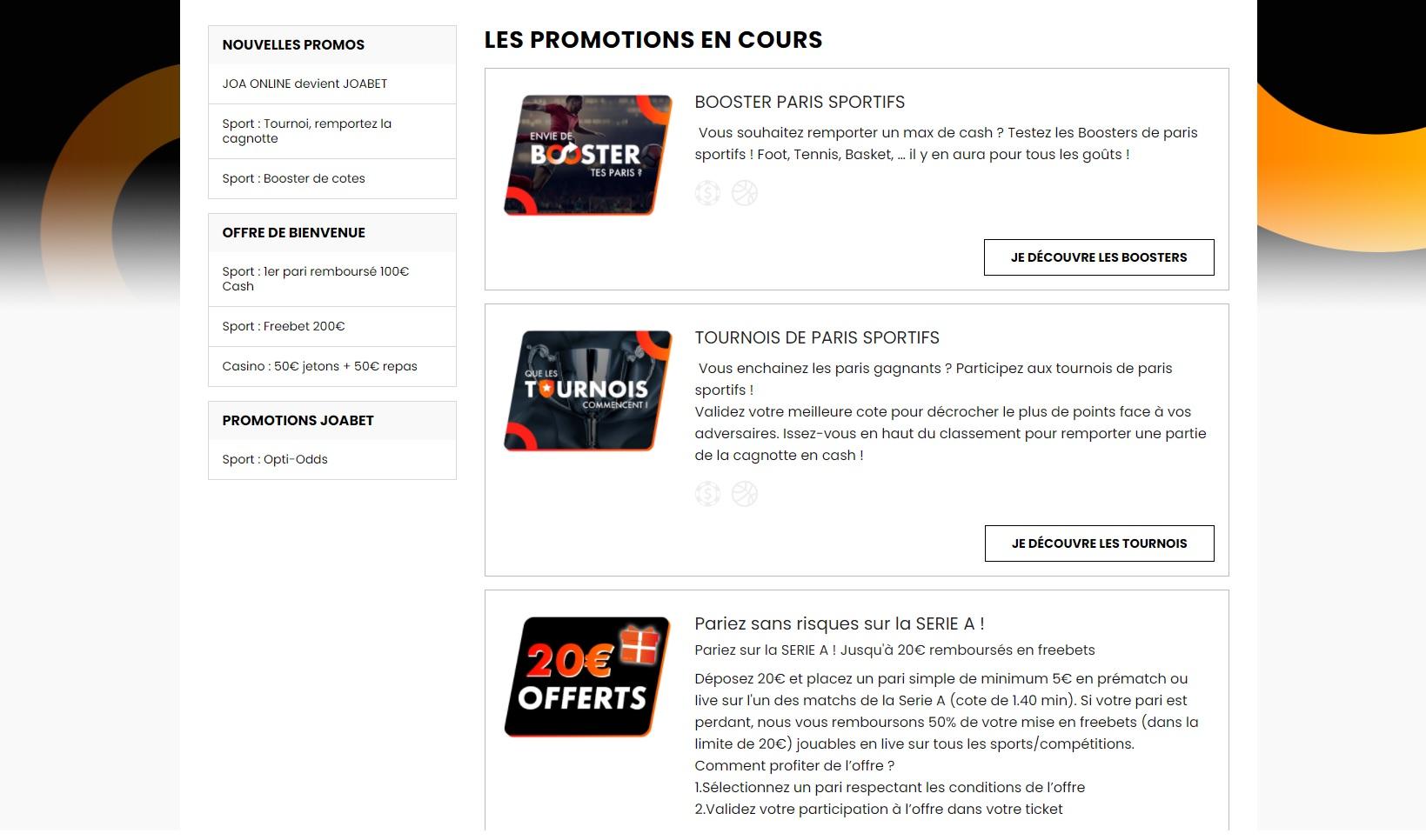 Promotions Joabet - Paris Sportifs