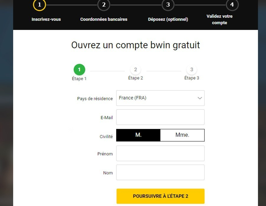Inscription Bwin