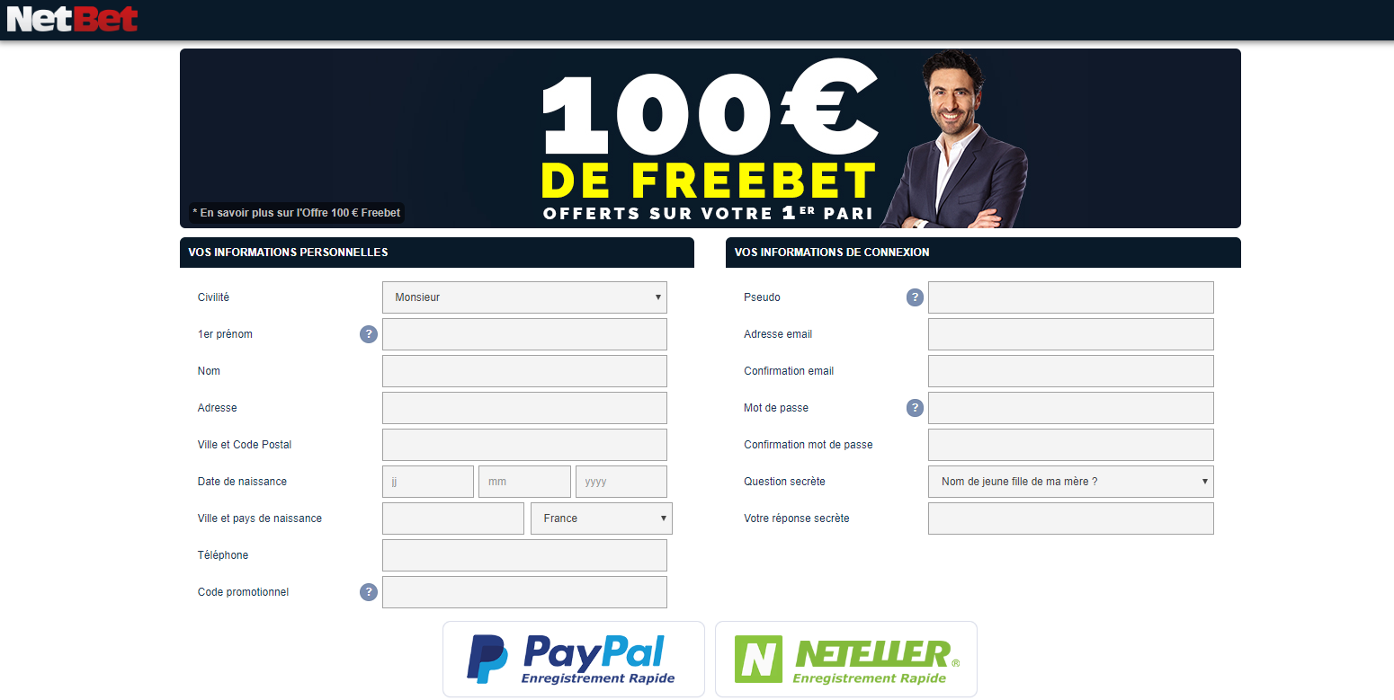 Inscription Netbet