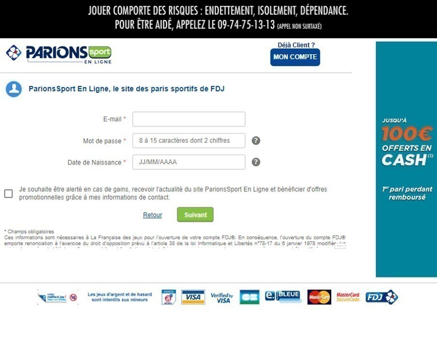 inscription parions sport en ligne