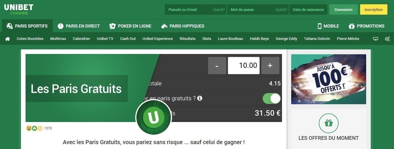 Les Paris Gratuits Unibet