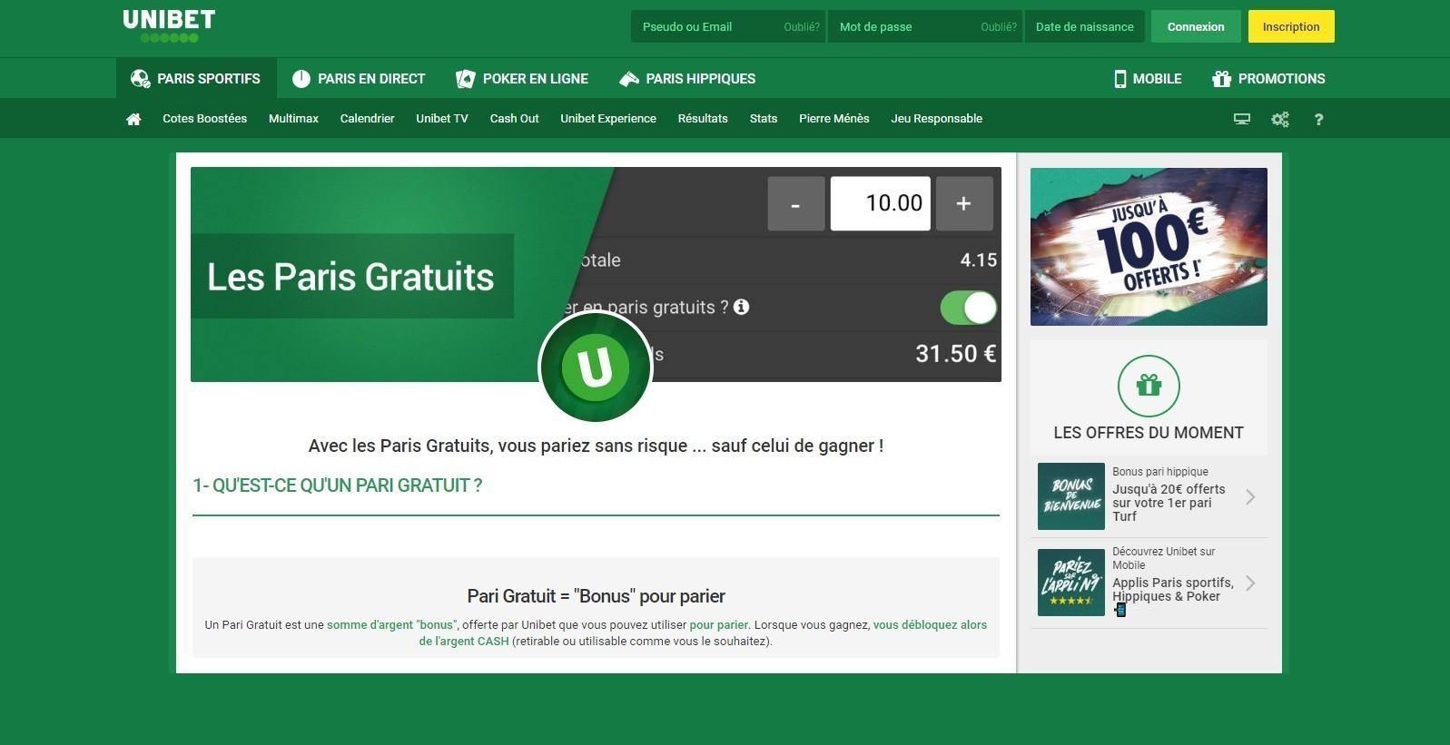 Obtenir Paris Gratuits Unibet - Freebet