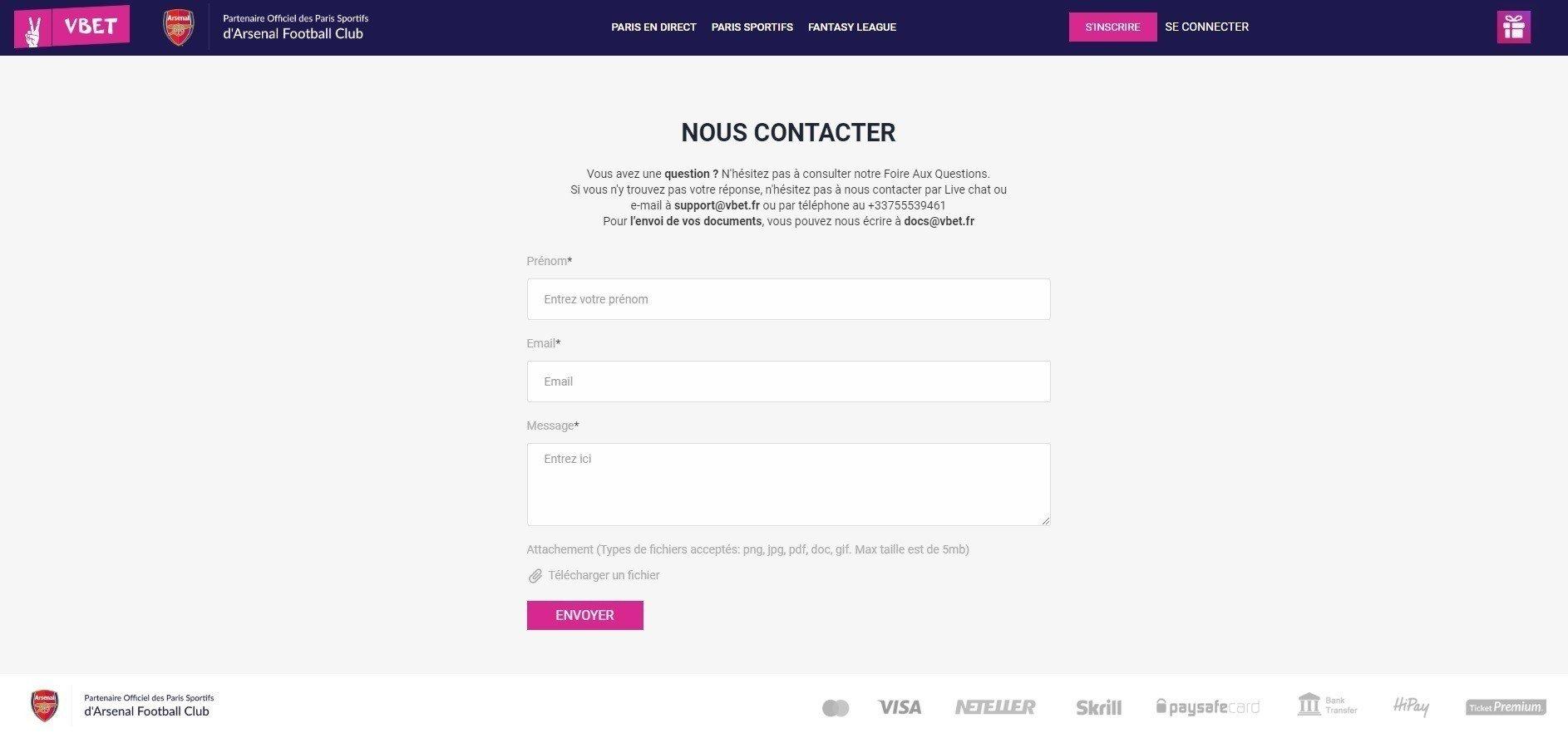 Contacter Vbet