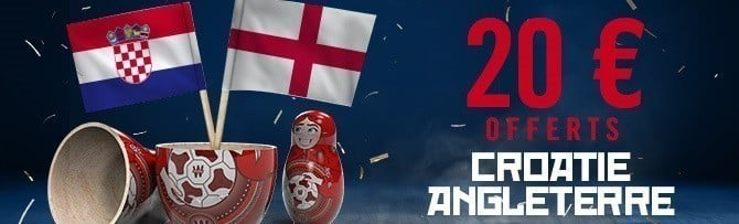 Promotion Winamax - Croatie Angleterre Coupe du Monde 2018