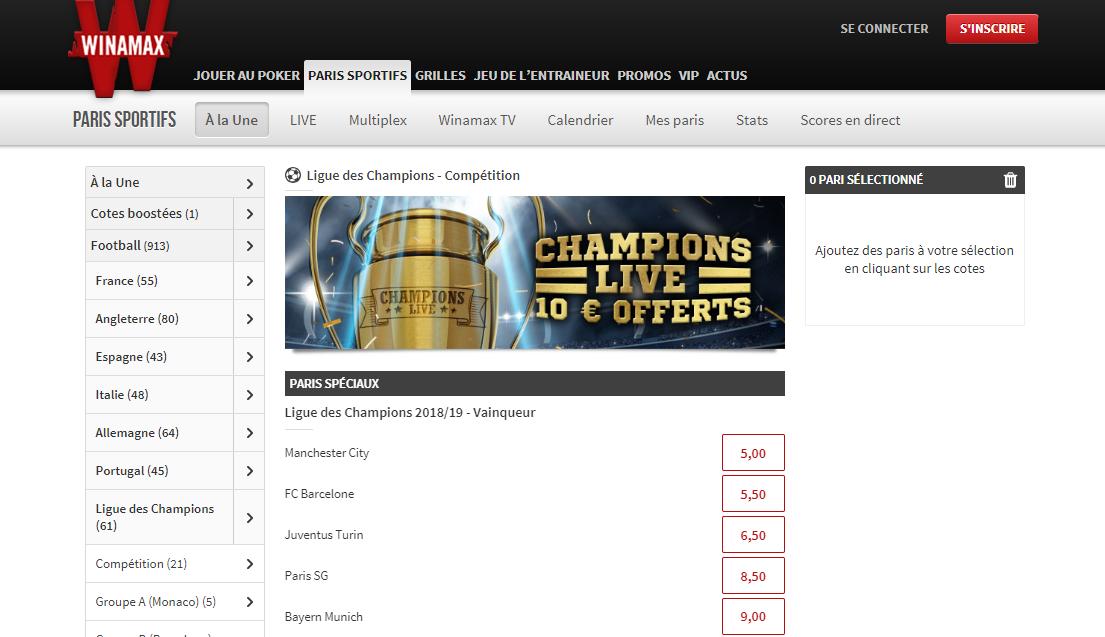 Bonus sans dépot Winamax - Ligue des Champions