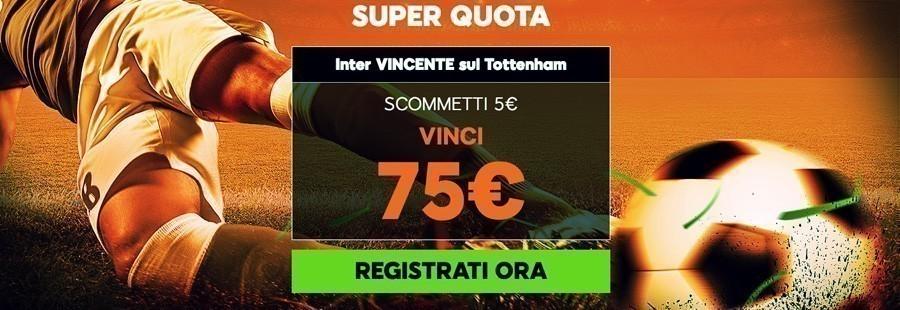 Inter Tottenham quota maggiorata 888sport