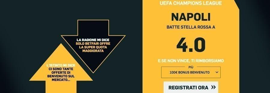 Quota maggiorata Napoli Champions League