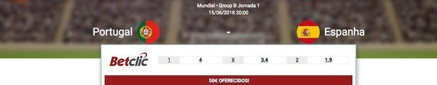 Melhores odds Portugal-Espanha Mundial 2018