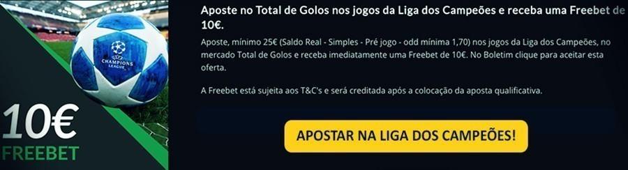Apostas Liga dods Campeões - 10€ Freebet