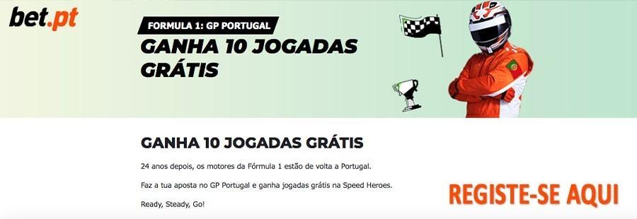 Fórmula 1: GP Portugal - 10 rodadas grátis na Bet.pt!