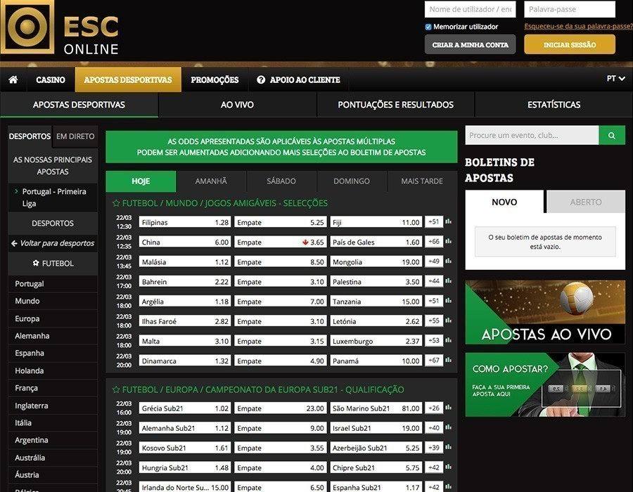 ESC Online apostas futebol