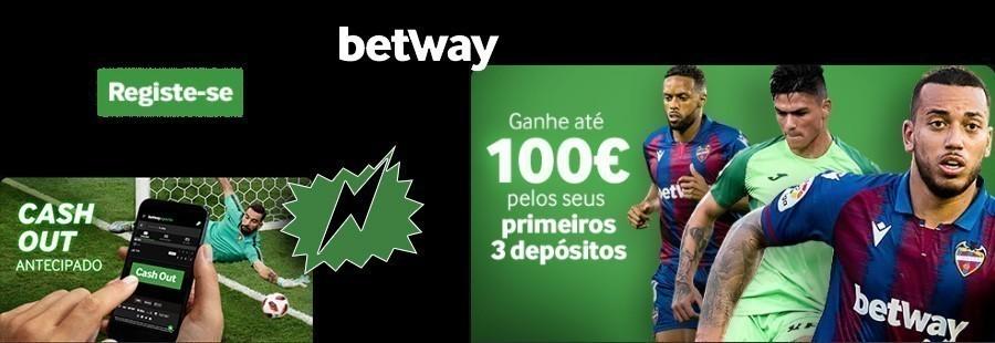 Bonus Betway até 100€ em 3 depósitos!