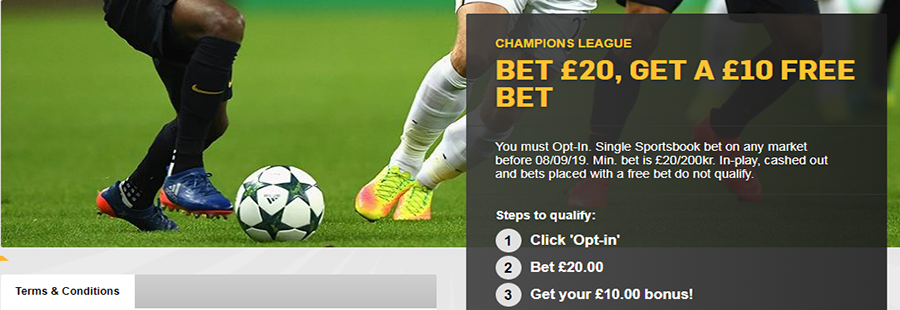 betfair champions league free bet offer