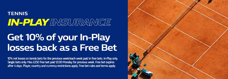 William Hill In-Play Tennis Insurance Offer