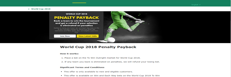 bet365 world cup penalties offers