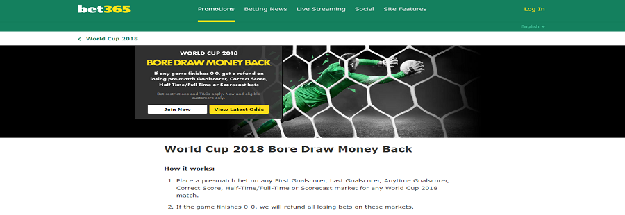 bet365 bore draw offer