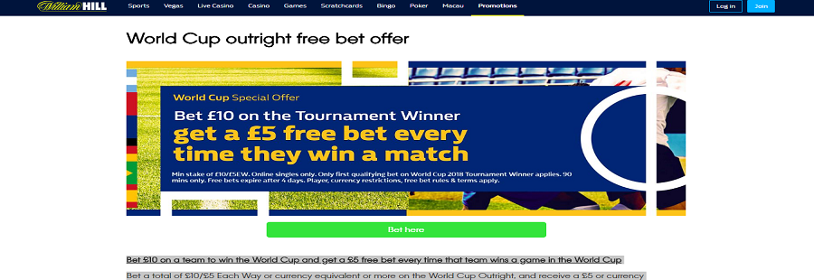 william hill world cup freebet offer