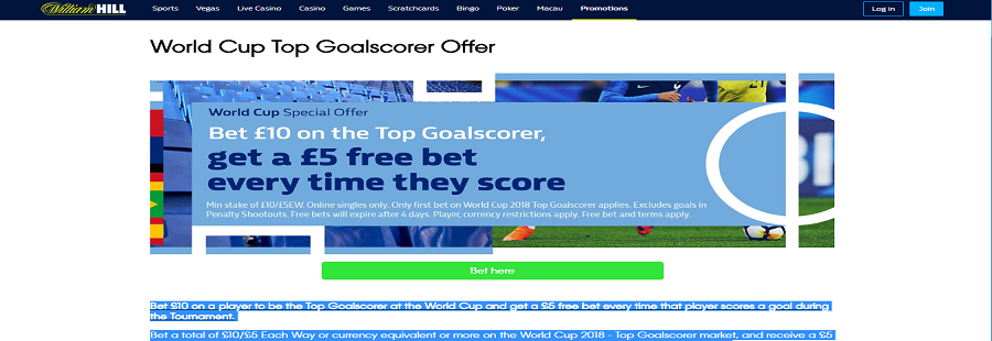 william hill world cup offer top goalscorer