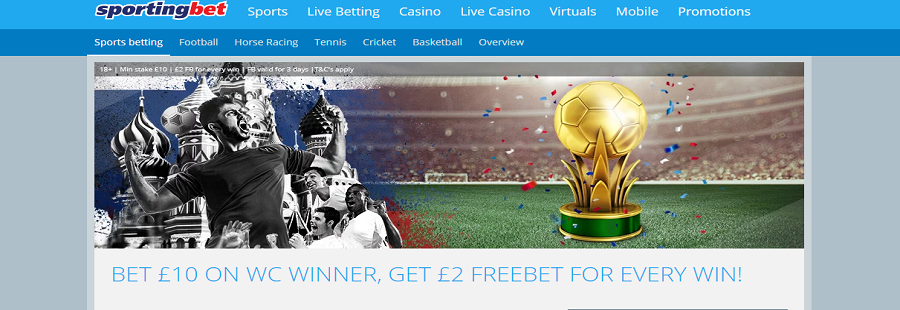 free bet offer on sportingbet for 2018 wc